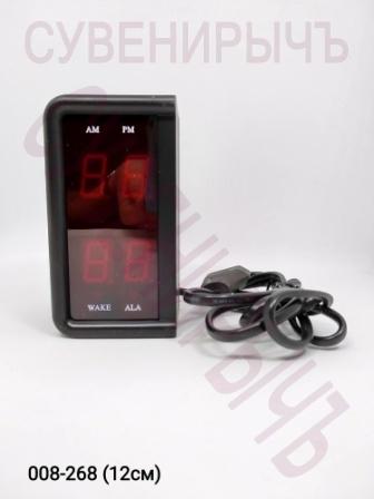 Будильник электрон термом дата крас.цифры KS75