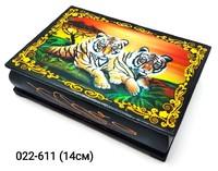 Шкатулка Тигры Пара Африка бол дер лак 10x14