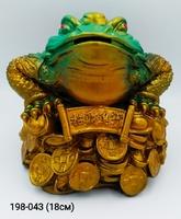 Копилка Жаба на деньгах зеленая 18см