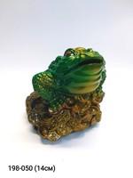 Копилка Жаба на деньгах зелен мал 14см