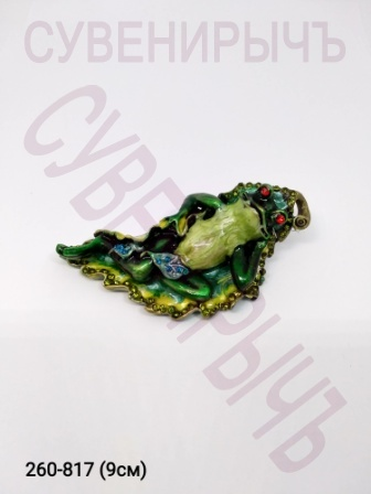 Шкатулка стразы Лягушка на листе F3741б