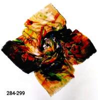Платок Цветы бахрома шерсть