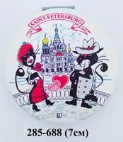 Зеркало СПб Коты сердце круг мягк 37-3051