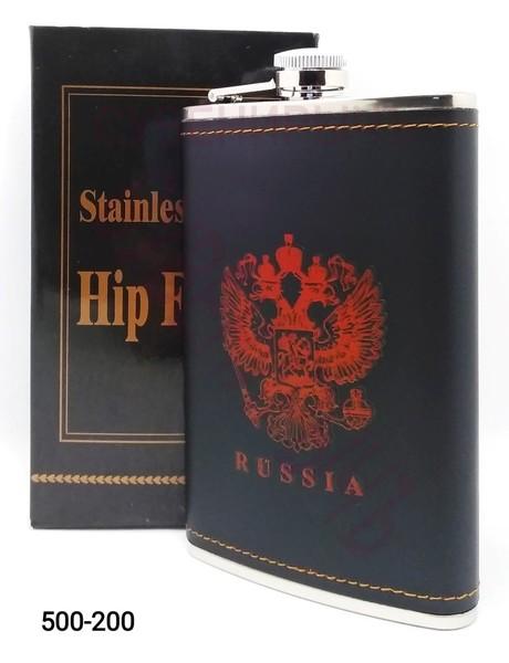 Фляга 10oz Герб Russia кожа