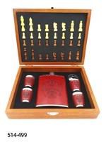 Набор подарочный 8oz Шахматы Фляга стопки QZ-8B